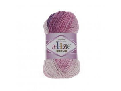 Alize Cotton gold batik 3302 růžovo-fialovo světlá