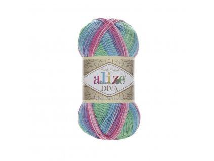 Příze Alize Diva batik 4537 růžovo-modro-zelená