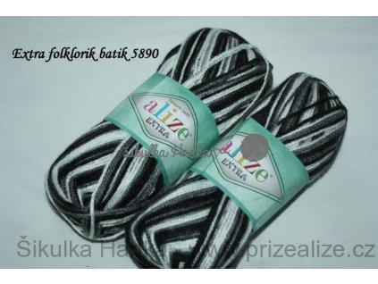 Příze Alize Extra folklorik batik 5890 černo-bílá