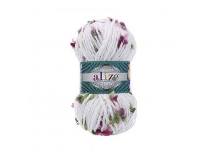 Příze Alize Flower 5071 bílá s růžovo-zelenými