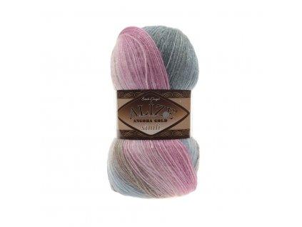 Angora gold simli batik 2970 růžovo-modrošedá