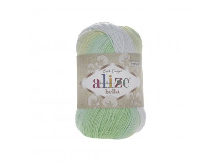 Příze Alize Bella batik 2131 zeleno-žluto-bílá