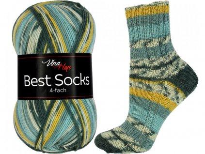 Příze Best socks 7308 zeleno-šedo-okrová