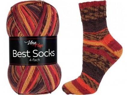 Příze Best socks 7316 hnědo-vínovo-oranžová