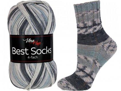 Příze Best socks 7306 černo-šedá
