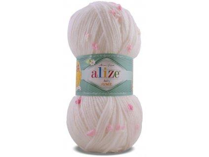 Příze Alize Flower baby 5516 bílá s růžovými