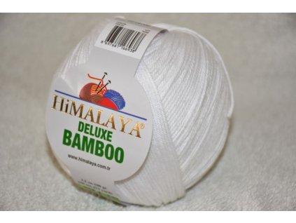 Příze De lux bamboo 01 bílá