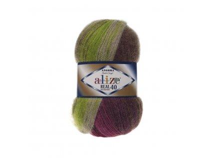 Angora real 40 batik 3940 zeleno-vínovo-hnědá