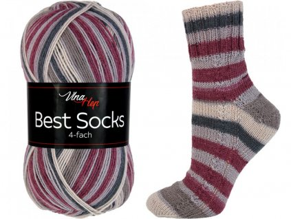 Příze Best socks 7318 béžovo-vínová