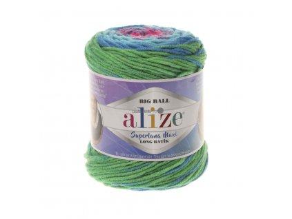 Superlana maxi long batik 6776 růžovo-modro-zelená