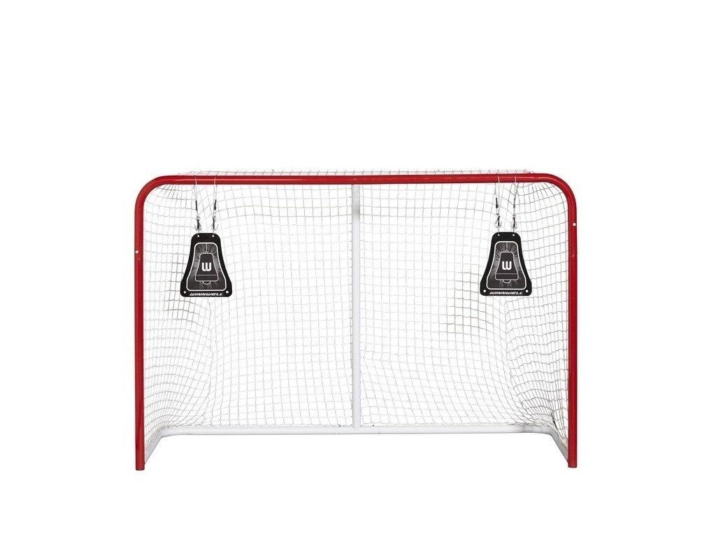 Střelecký terč Winnwell Metal Bell, hokejový trénink, hokejová míček, hokejový puk, střelecká deska, hokejová podlaha, hokejová brána