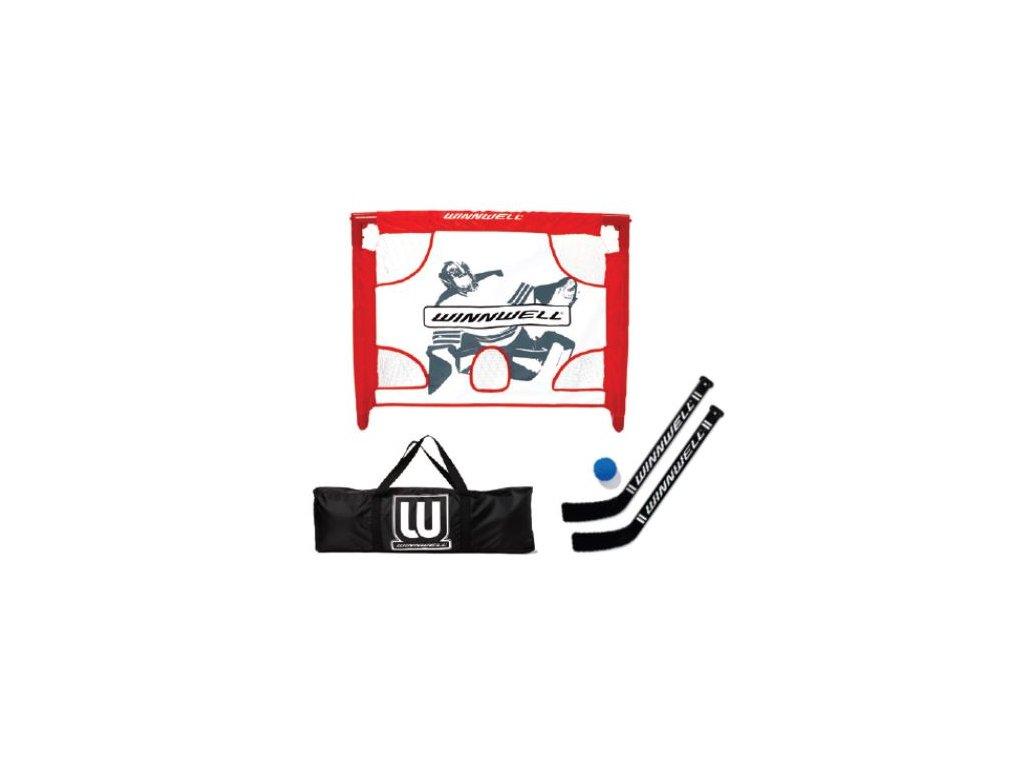 Dětská branka WinnWell Mini Set PVC, hokejový trénink, hokejová brána, hokejový puk, hokejová míček, nahrávač, střelecká deska, hokejová podlaha