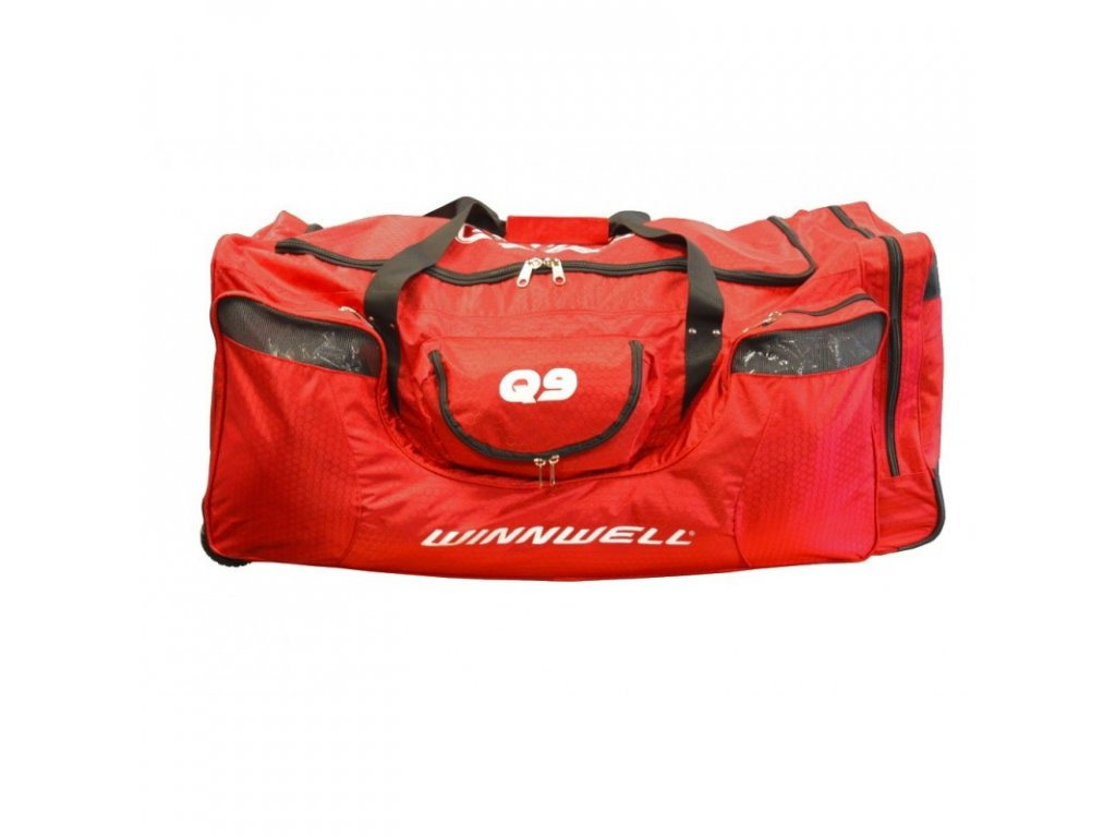 hokejova taška winnwell q9, hokejova vystroj, hokej, hokejovy trening, červena 12