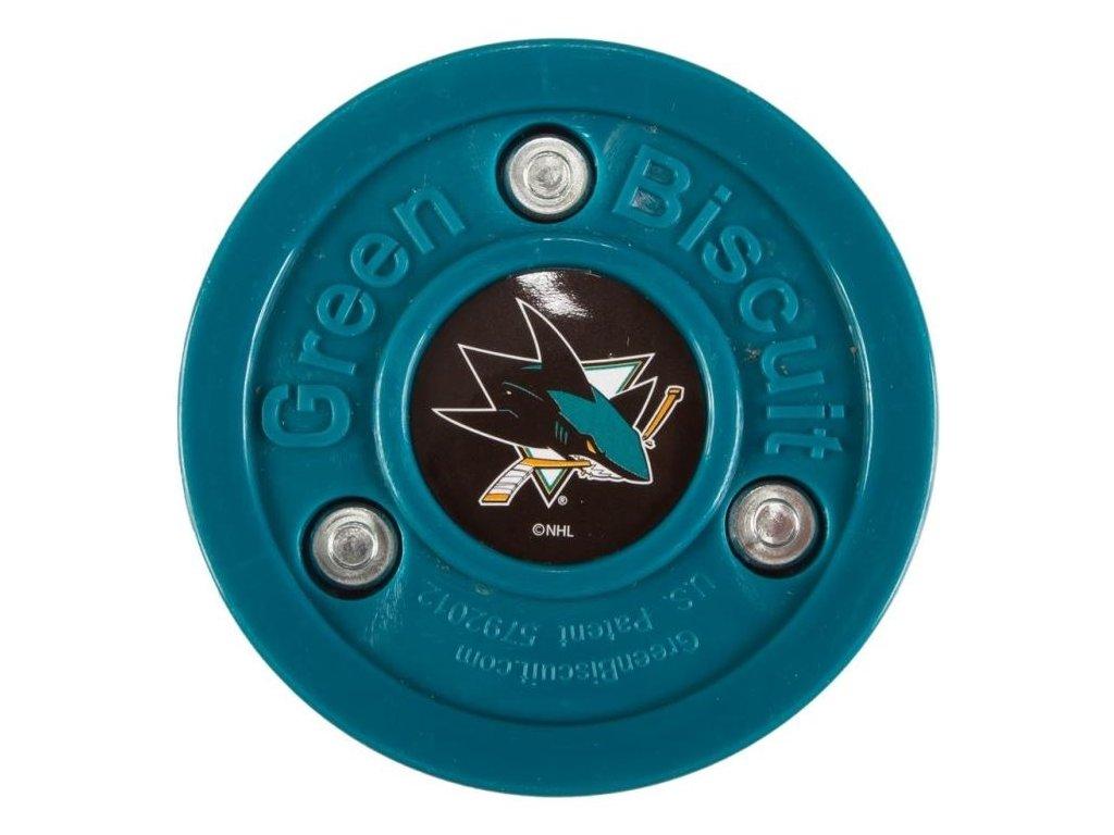 Stickhandling PUK - GREEN BISCUIT San Jose Sharks, hokejový trénink, hokejová míček, hokejový puk, střelecká deska, hokejová podlaha, hokejová brána, sušák hokejové výstroje, chránič zubů, tkaničky do bruslí, střelecká plachta, střelecký terč, my enemy, trénink techniky s pukem
