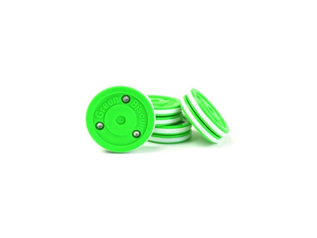 Stickhandling puk - Green Biscuit Pro, hokejový trénink, hokejová míček, hokejový puk, střelecká deska, hokejová podlaha, hokejová brána, sušák hokejové výstroje, chránič zubů, tkaničky do bruslí, střelecká plachta, střelecký terč, my enemy, trénink techniky s pukem