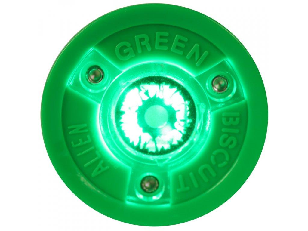 Stickhandling PUK Green Biscuit Alien, hokejový trénink, hokejová míček, hokejový puk, střelecká deska, hokejová podlaha, hokejová brána, sušák hokejové výstroje, chránič zubů, tkaničky do bruslí, střelecká plachta, střelecký terč, my enemy, trénink techniky s pukem