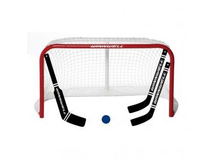 """Dětská branka - WinnWell MINI SET 32""""+ Brankářská hokejka, hokejový trénink, hokejová brána, hokejový puk, hokejová míček, nahrávač, střelecká deska, hokejová podlaha"""