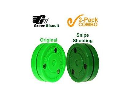 Green Biscuit Bonus 2-pack, hokejový trénink, hokejová míček, hokejový puk, střelecká deska, hokejová podlaha, hokejová brána, sušák hokejové výstroje, chránič zubů, tkaničky do bruslí, střelecká plachta, střelecký terč, my enemy, trénink techniky s pukem