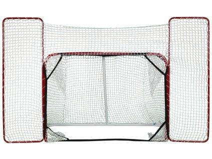 Skládací hokejová branka 72 '' s postranní sítí a lapači, hokejová brána, hokejový puk, střelecká deska, hokejová deska, hokejová podlaha, hokejový puk, hokejový trénink