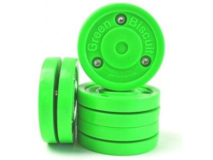 Stickhandling puk - Green Biscuit Original, hokejový trénink, hokejová míček, hokejový puk, střelecká deska, hokejová podlaha, hokejová brána, sušák hokejové výstroje, chránič zubů, tkaničky do bruslí, střelecká plachta, střelecký terč, my enemy, trénink techniky s pukem