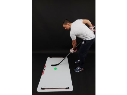 střelecká deska Shooting Pad, hokejový trénink, hokejová branka, hokejový míček, hokejový puk, hokejový nahrávač
