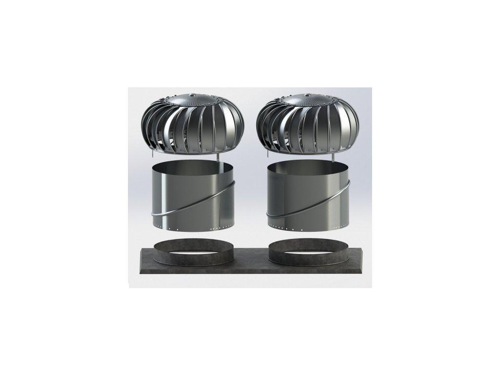 Set-3 pro plochou střechu s ventilační turbínou Lomanco BIB 14