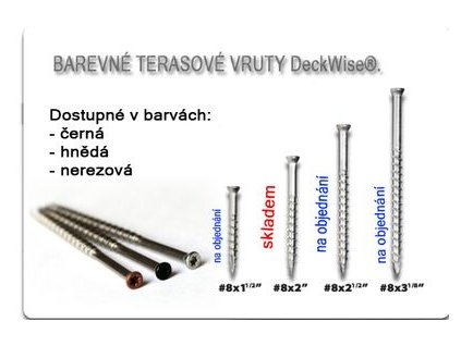 Terasový vrut barevný, 4x50mm,T15, nerez
