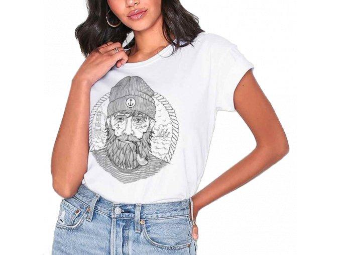 women t shirt white the real captain 2