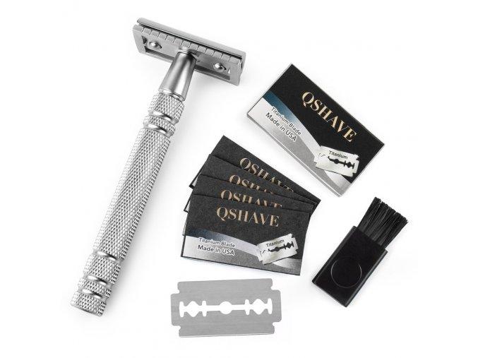 Qshave Men Manual Shaving Razor Classic Safety Razor Double Edge Blade Copper Handle with 5 pcs