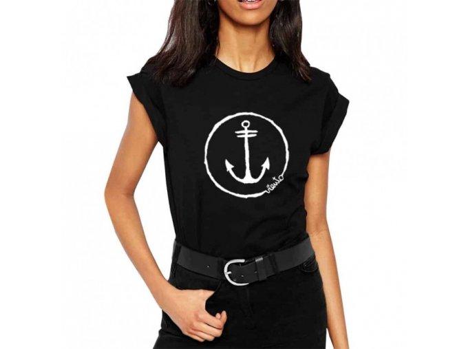t shirt woman black anchor logo