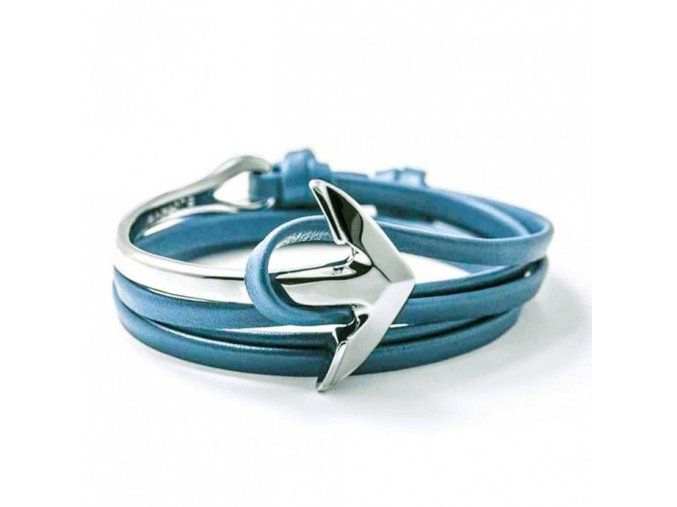 blue leather bracelet curved anchor1