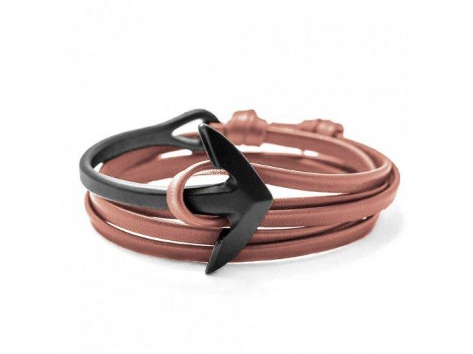 brown leather bracelet black anchor curved1