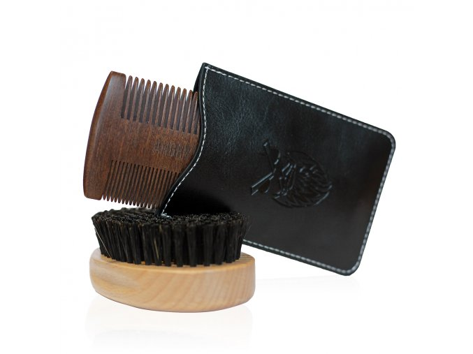 Set kartáč a dřevěný hřeben na vousy Angry Beards