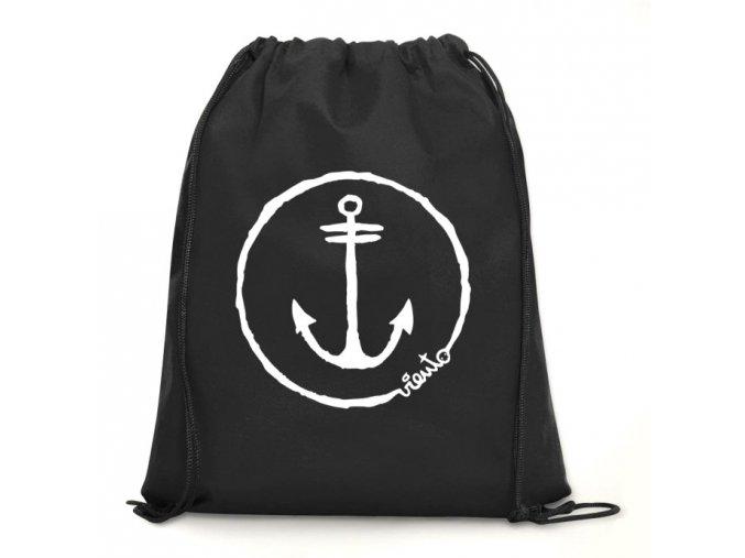 dawstring bag black gymsack anchor logo