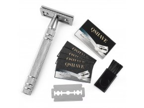 Qshave Men Manual Shaving Razor Classic Safety Razor Double Edge Blade Copper Handle with 5 pcs