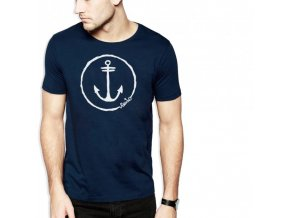 men t shirt navy anchor logo