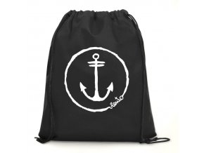 dawstring bag black gymsack anchor logo