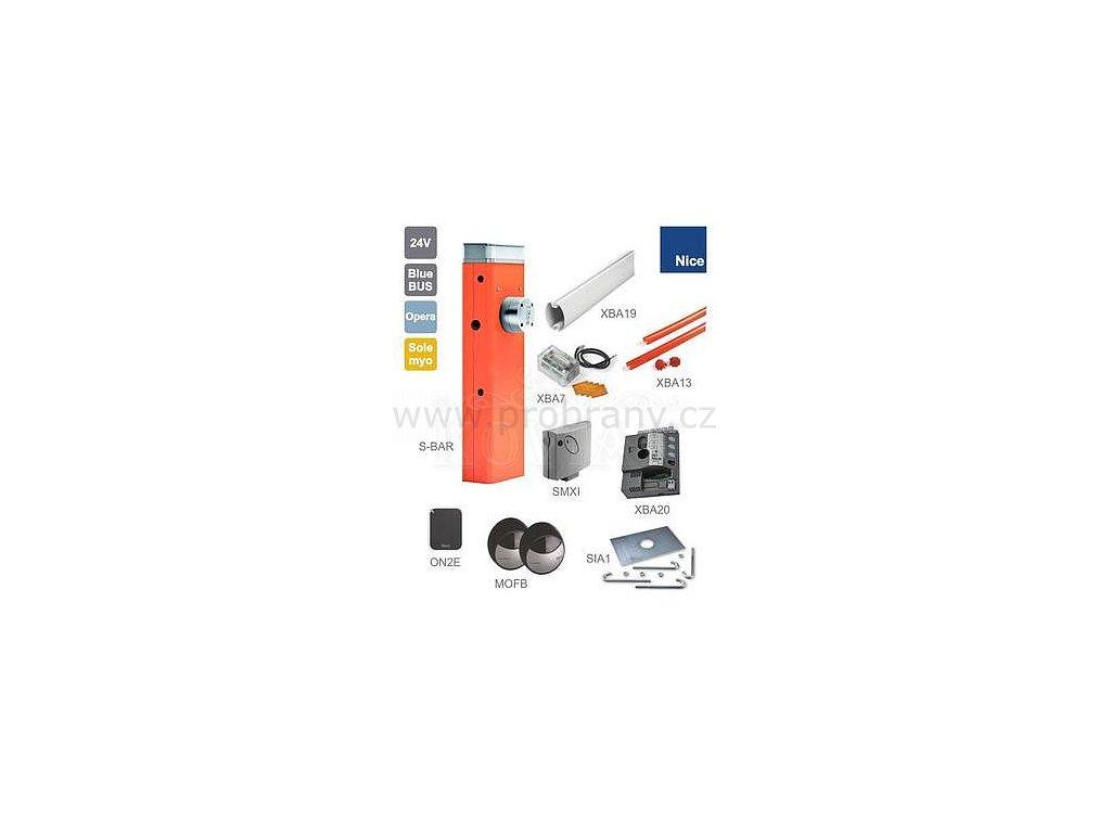 NICE Automatická závora do 3,85m průjezdu, motor 24V, 300W, 100Nm s elektr. XBA20, 1x SIA1, 1x XBA19, 1x XBA13, 1x XBA7, 1x ON2E, 1x MOFB, 1x SMXI