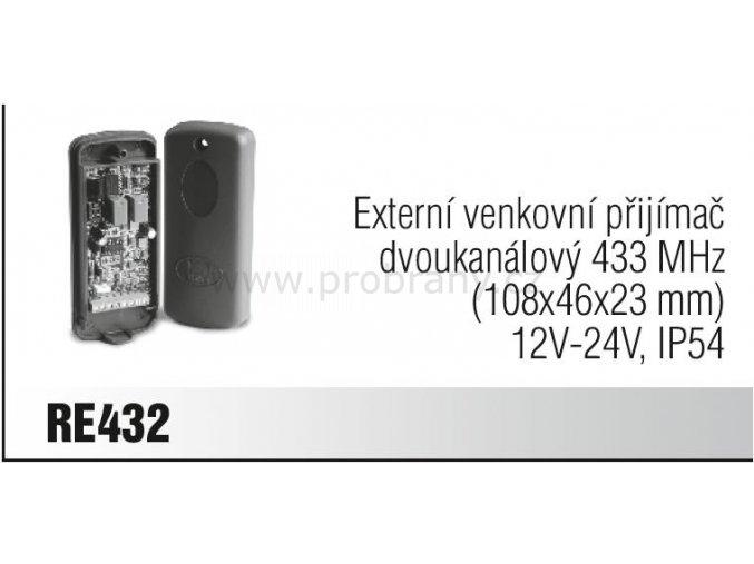 CAME RE 432 externí přijímač, frekvence 433Mhz