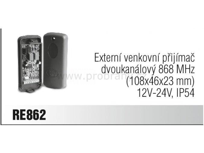 CAME RE 862 externí přijímač dvoukanálový, frekvence 868 Mhz