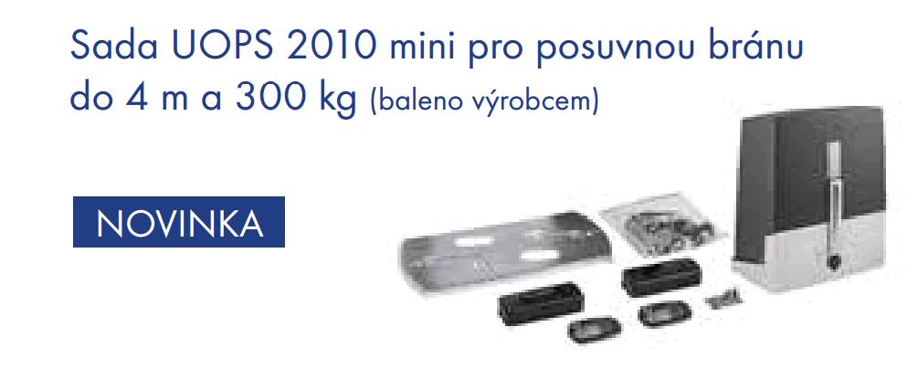 CAME UOPS 2010 mini, sada pro posuvnou bránu do 4m průjezdu a 300kg váhy, fotobuňky, 2x dálkový ovladač CAME TOP 432 EV