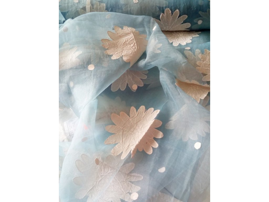 ZÁCLONA VINKA modrá s květy šíře 300