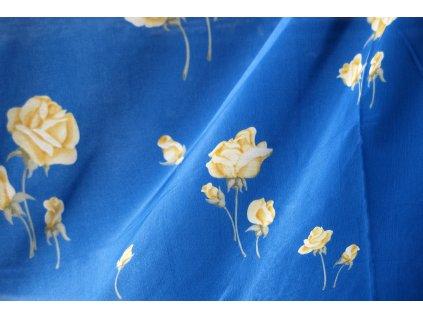 ZÁCLONA modrá + žluté květy šíře 300