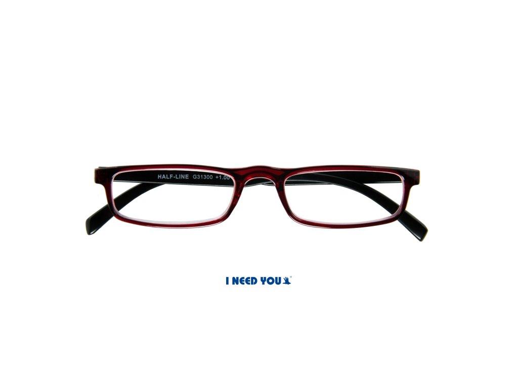 HALF-LINE brýle na čtení červenohnědá