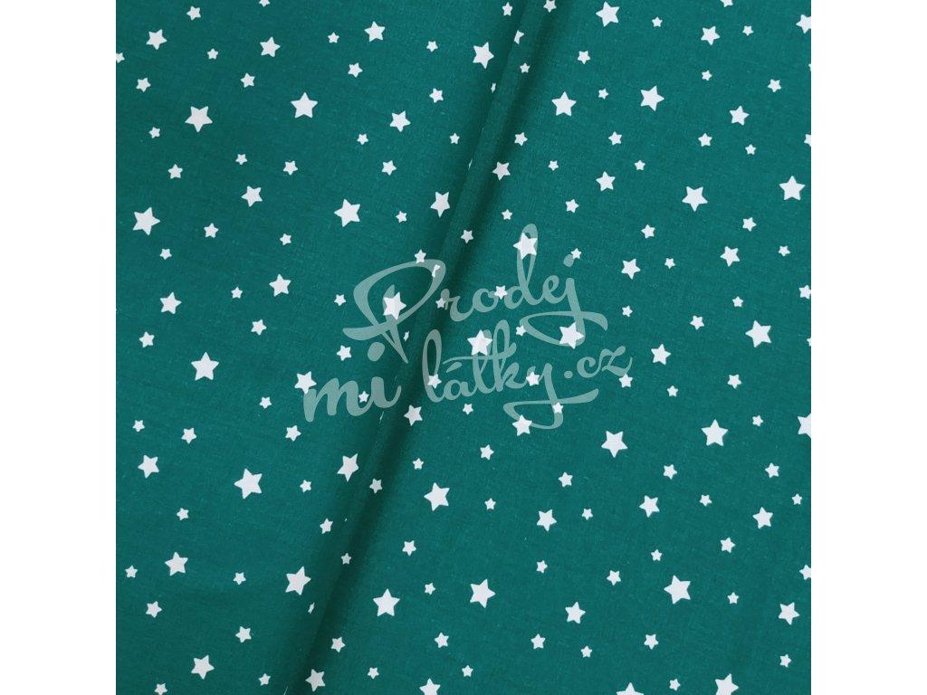 Plátno - Tmavě zelená, hvězdičky