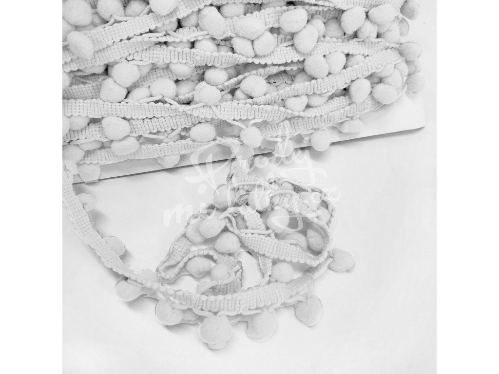 2081 Prýmek s bambulkami 20mm Bílá