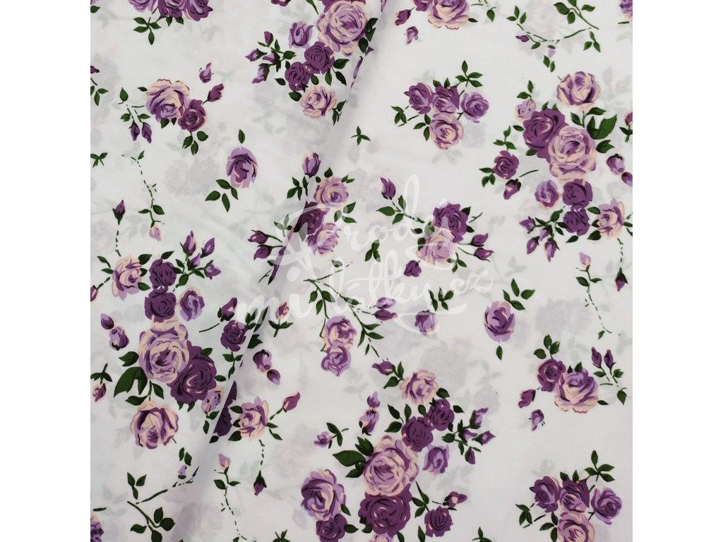 Plátno - Růže, fialová š. 160