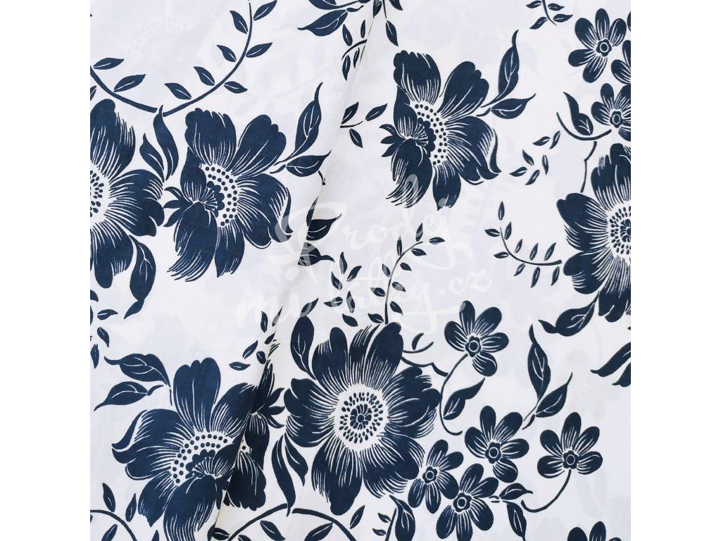 Plátno - Květ, bílomodrá š. 160