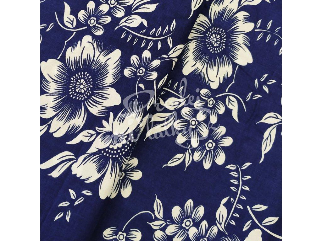 Plátno - Květ, modrá š. 160