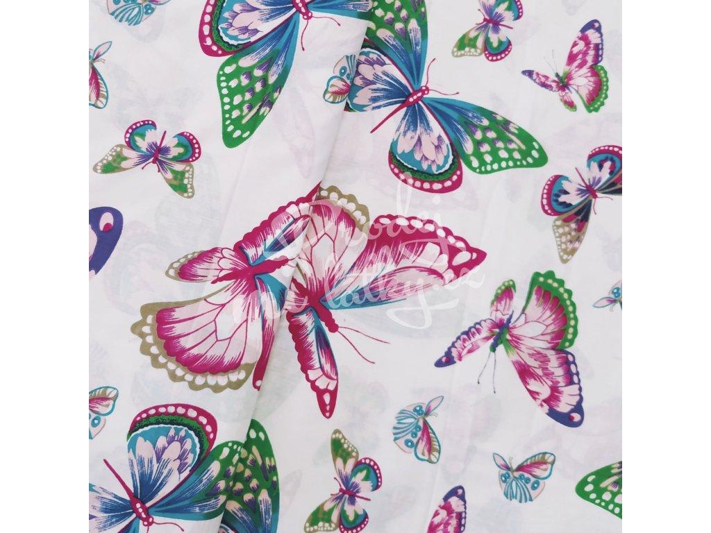 Plátno - Barevní motýlci š. 160